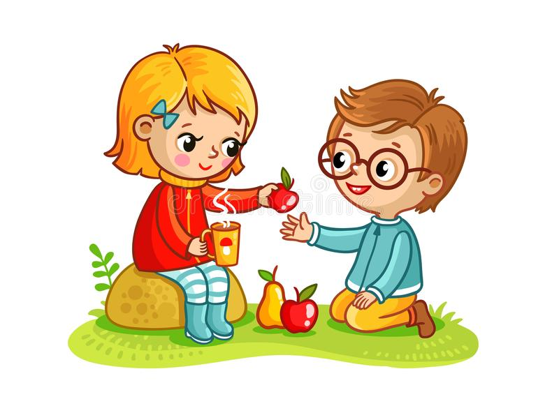 Boy and a girl eat in nature. Children at the picnic eat fruit. Vector illustration in childrens style stock illustration