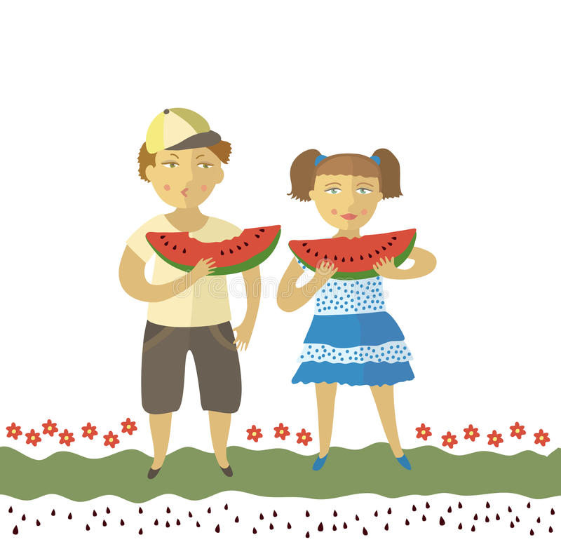 Download The Boy And The Girl Eat A Water-melon Stock Vector - Illustration: 19851600
