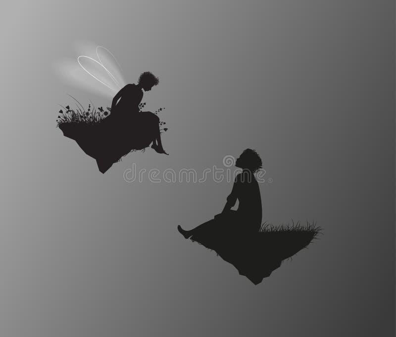 Boy and girl elf sitting on the flying rock, romantic fairy scene, stock illustration