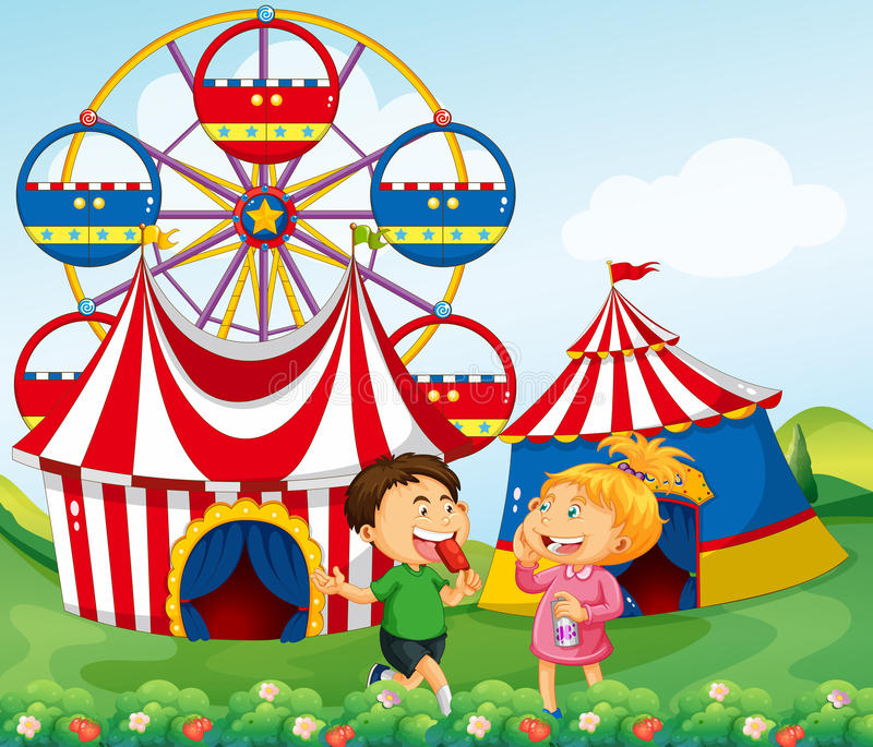 Boy and girl enjoying circus royalty free illustration