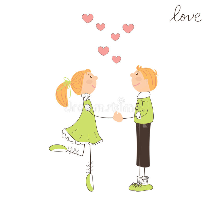 Boy and girl fall in love. Valentine day illustration vector illustration