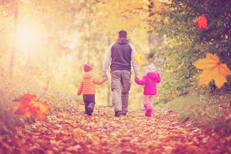 Boy and girl with father holding hands on the nature royalty free stock photos