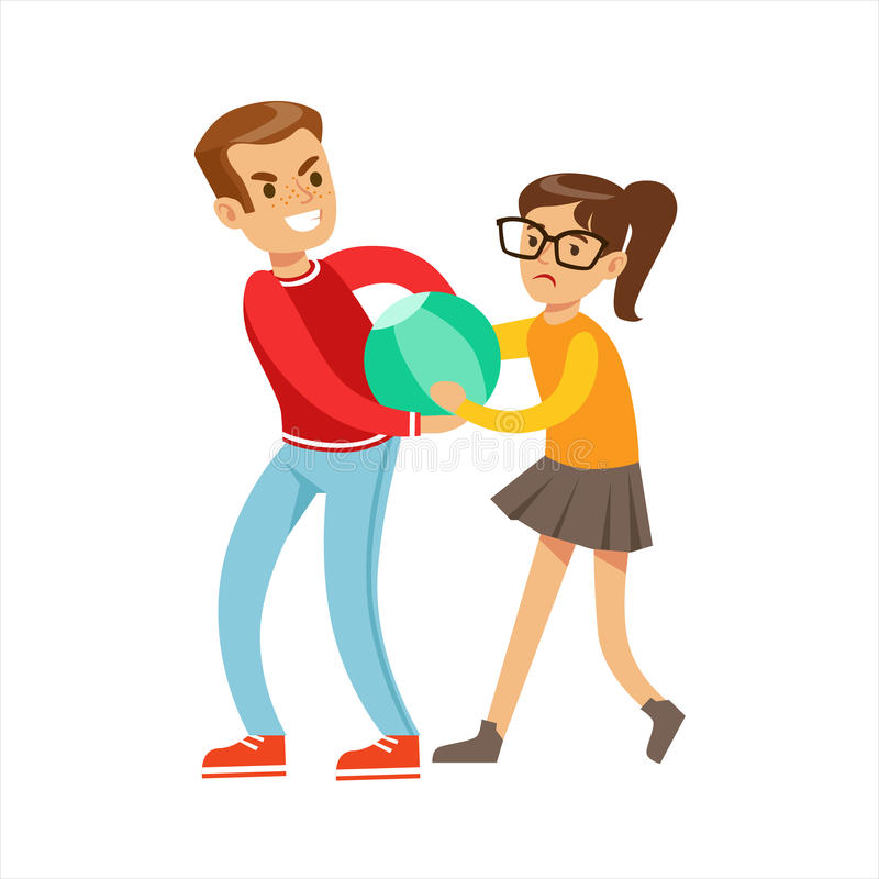 Boy And Girl Fist Fight Positions, Aggressive Bully In Long Sleeve Red Top Fighting Another Kid Taking Away A Ball. Flat Vector Teenage Aggression And Conflict stock illustration