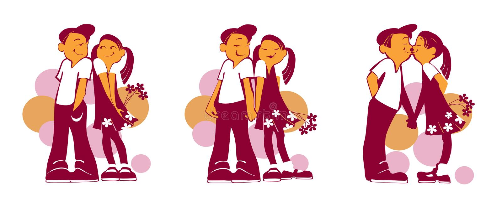 Boy and girl with flowers stock illustration