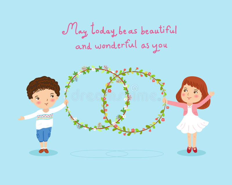 Boy and girl with flowers wreath cute card illustration vector illustration