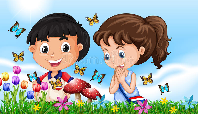 Boy and girl in the garden full of butterflies vector illustration