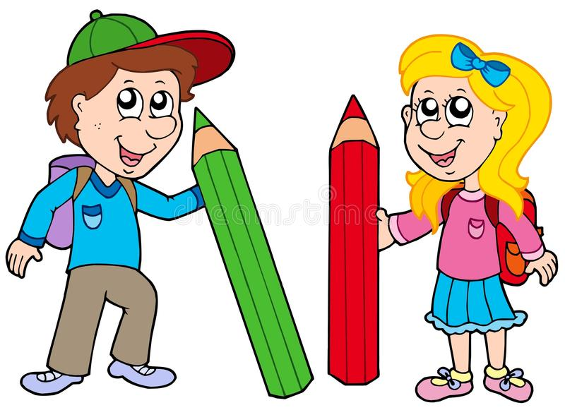 Boy and girl with giant crayons stock illustration
