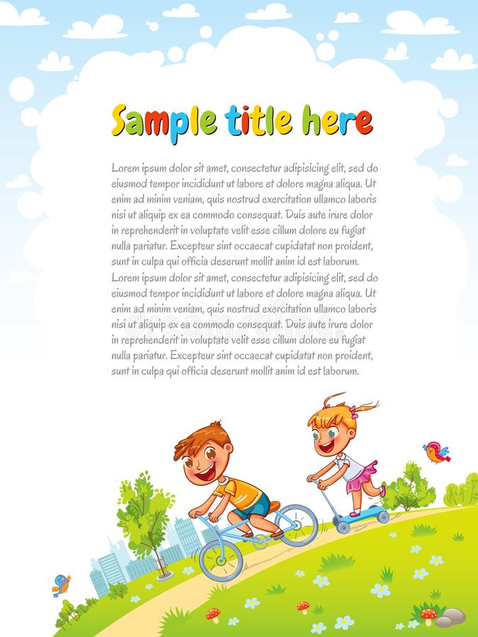 Boy and girl go for a drive on bicycles in the park. Healthy lifestyle. Template for advertising brochure. Ready for your message. Funny cartoon character royalty free illustration