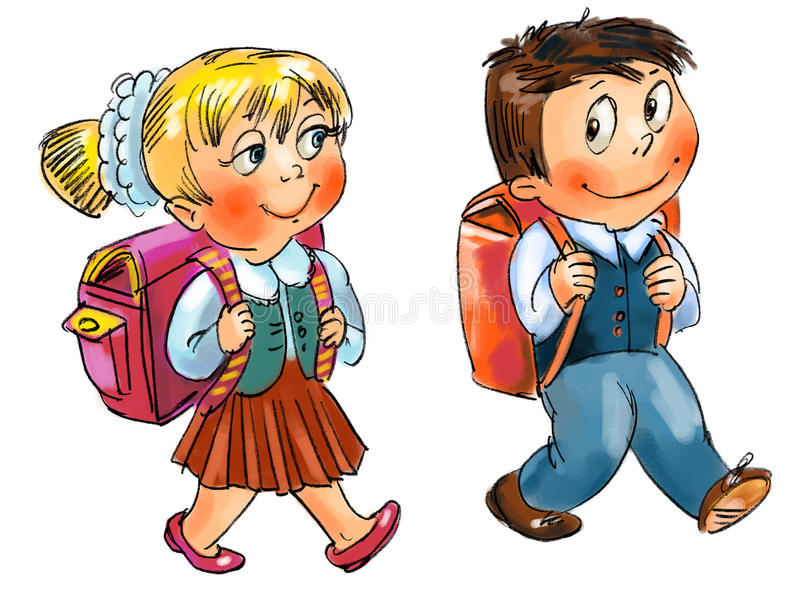 Download Boy and girl go to school stock illustration. Image of briefcase - 28192062