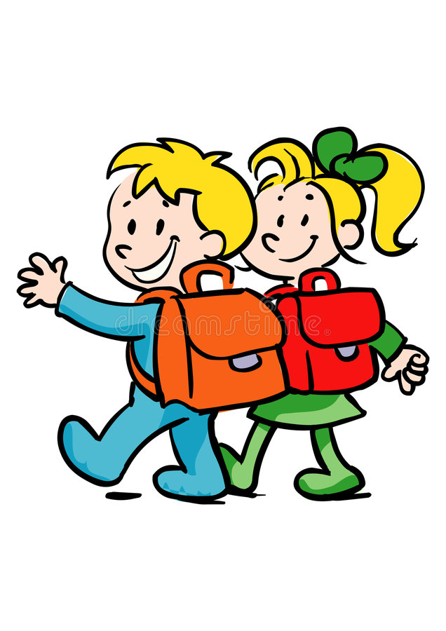 Boy and girl going to school royalty free illustration