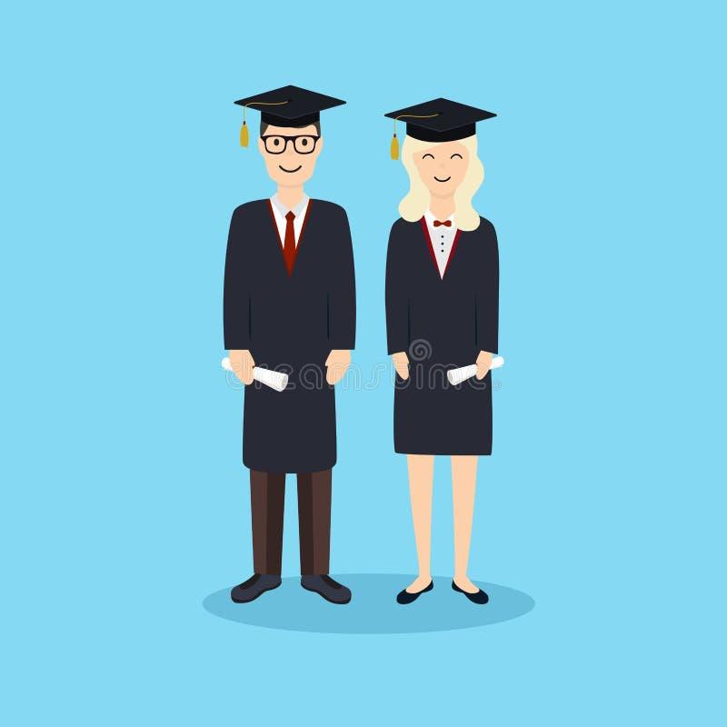 Boy and girl graduates.Vector illustration royalty free illustration