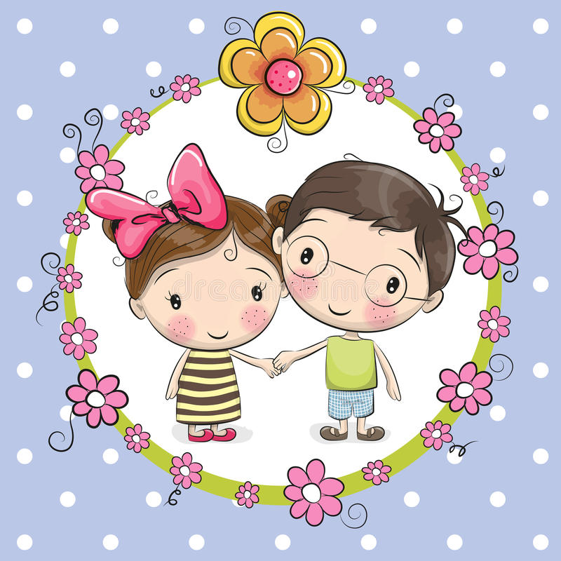 Boy and girl. Greeting card with cute Boy and Girl