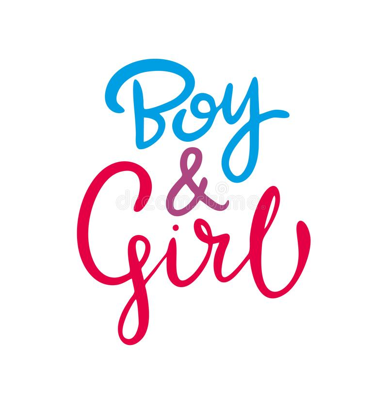 Boy and Girl hand drawn vector lettering. Vector illustration isolated on white background. Boy and Girl hand drawn vector lettering. Vector illustration stock illustration