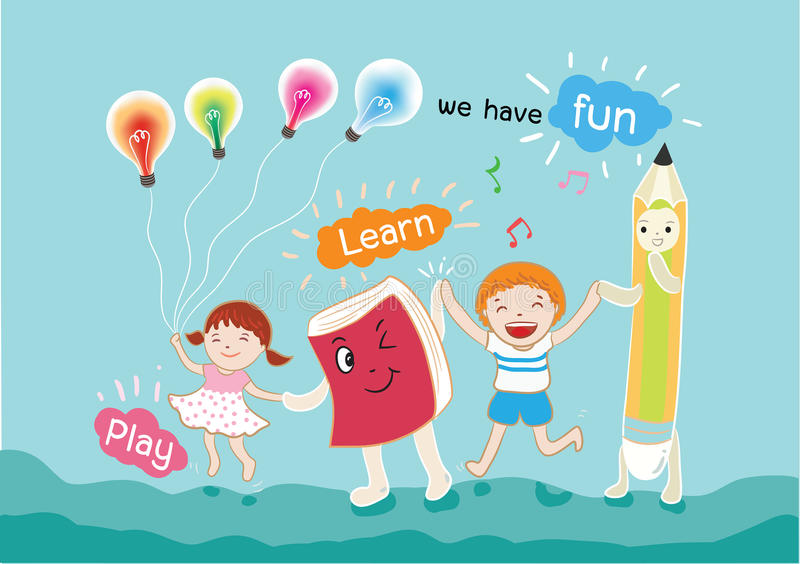 Boy and girl have fun for learning vector illustration royalty free illustration
