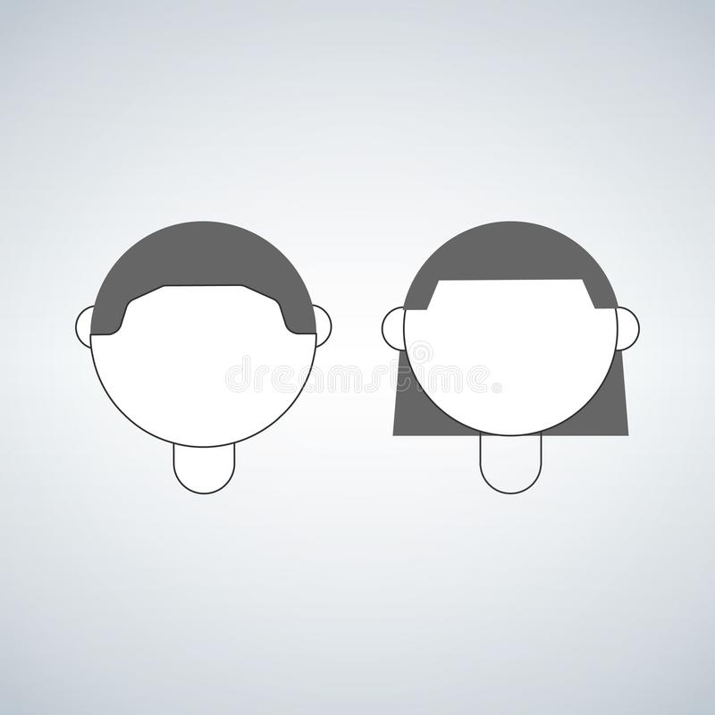 Boy and girl head, vector icon isolated on white background. Boy and girl head, vector icon isolated on white background royalty free illustration