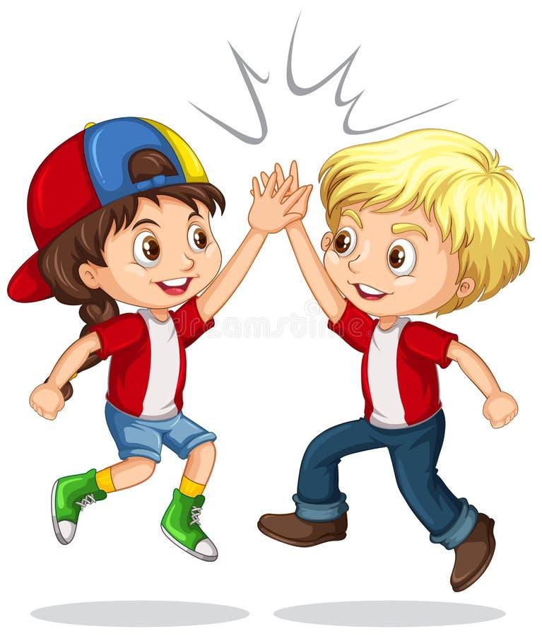 Boy and girl high five. Illustration vector illustration