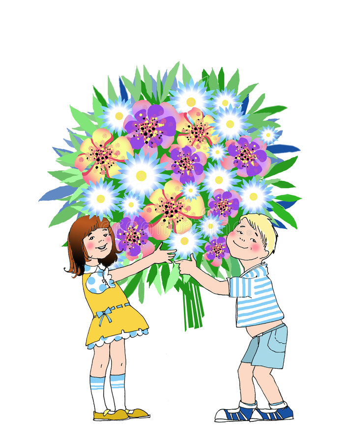 Boy and girl holding bouquet stock illustration