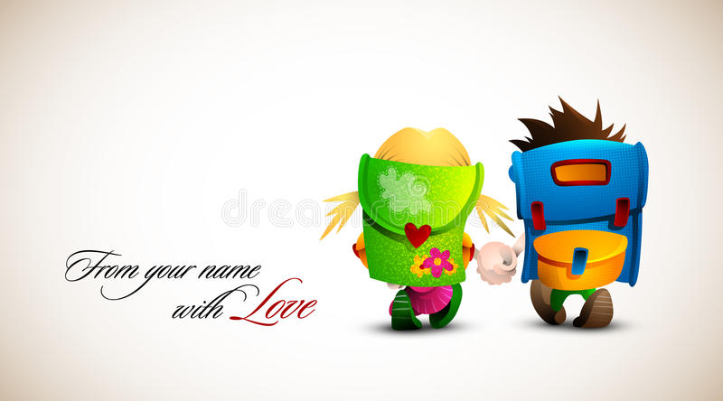 Download Boy And Girl Holding Hand Walking Together Stock Vector - Image: 16376786