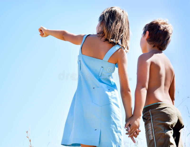 Boy And Girl Holding Hands Royalty Free Stock Photos