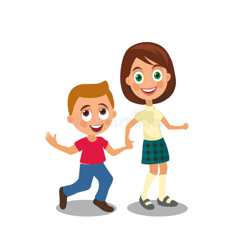 Boy and girl holding hands. stock illustration