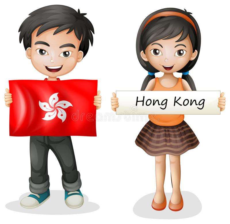 A Boy and Girl from Hong Kong stock illustration