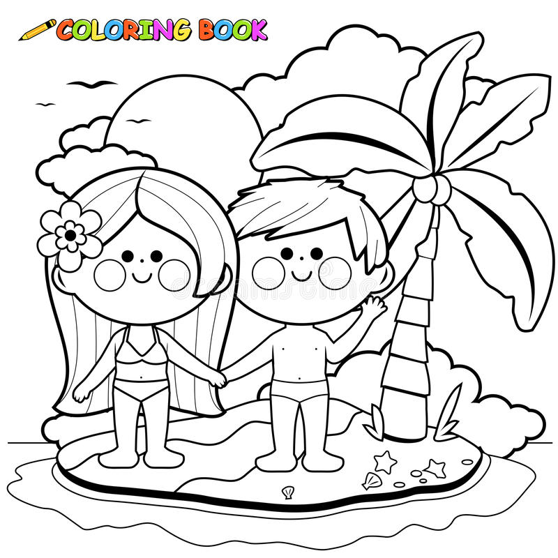 Boy and girl on an island. Black and white coloring book page royalty free illustration