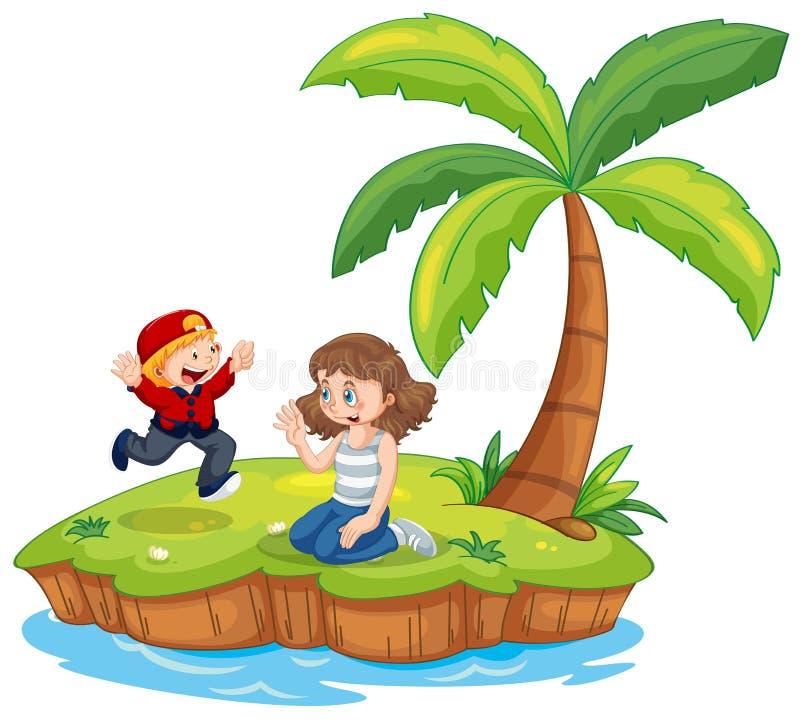 Boy and girl isolated on island. Illustration stock illustration