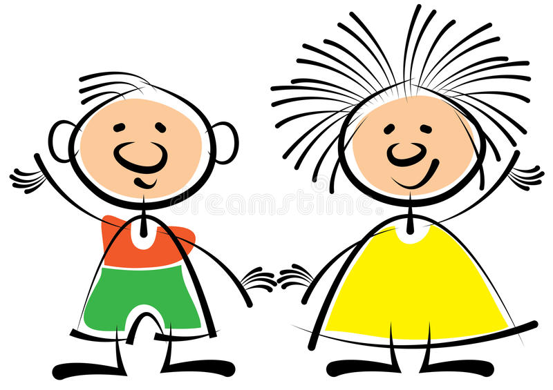 Boy and girl isolated on white. Background vector illustration