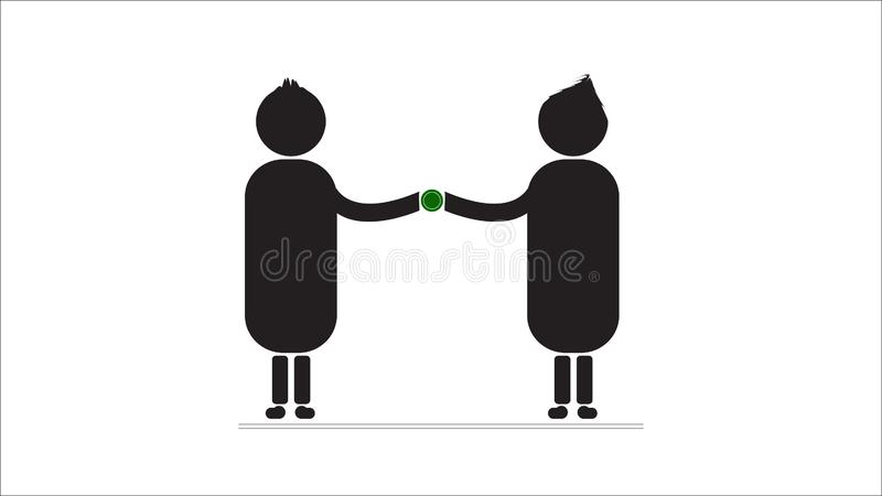 Boy and Girl join on a white background. logo. Boy and Girl join on a white background. Black body profile in vector royalty free illustration