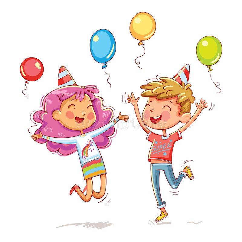 Boy and girl jumping fun at a children`s birthday party. A boy and a girl jumping fun at a children`s birthday party. Funny cartoon character. Vector royalty free illustration