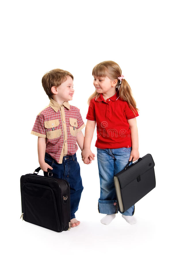 Boy and girl keep for hands royalty free stock photography
