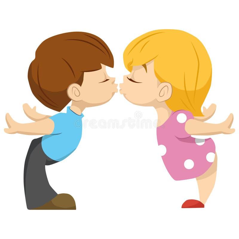 Cute couple of kids. the boy kisses the girl. Valentika stock illustration