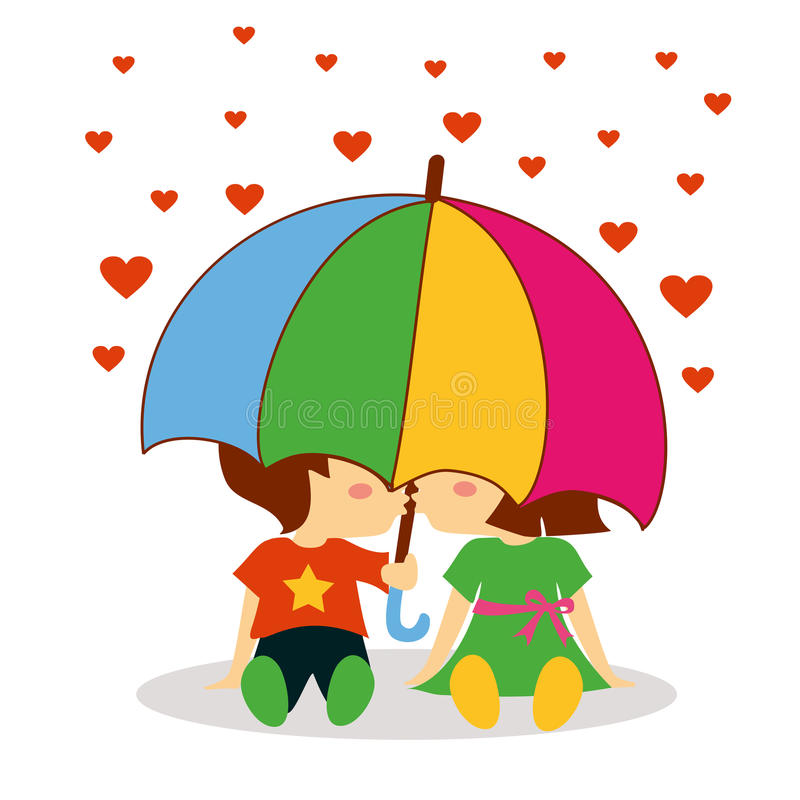 Boy and girl kissing under the umbrella for valentine day royalty free illustration