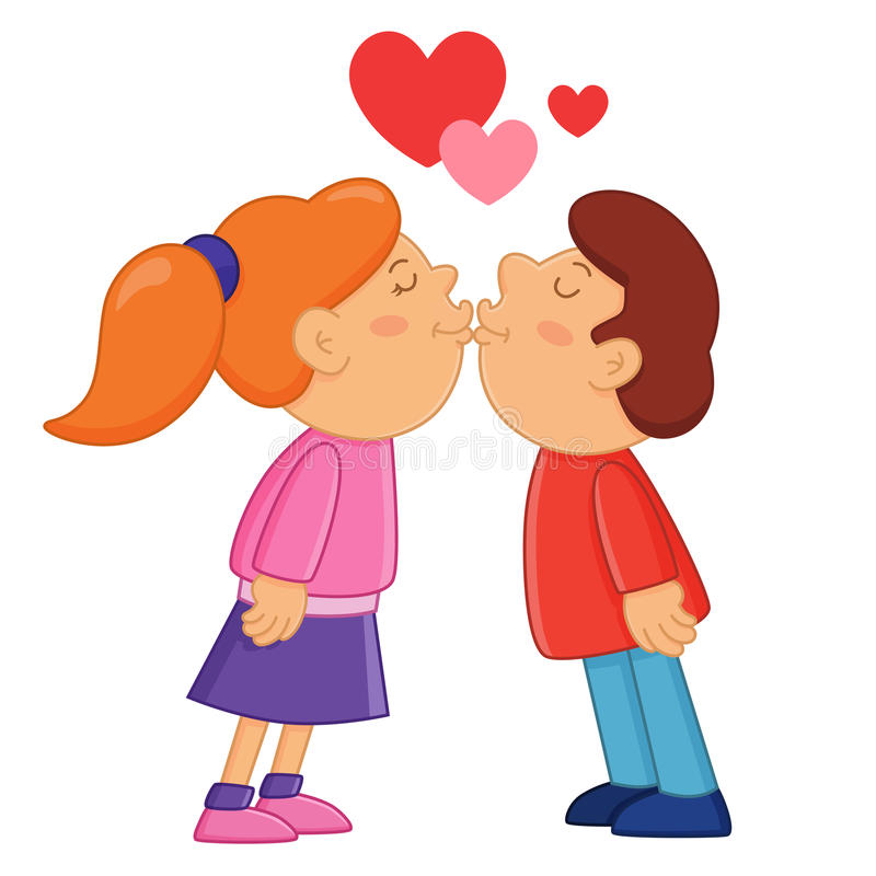Boy and girl kissing. Valentine's Day stock illustration