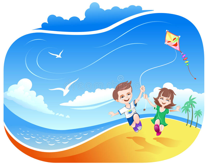 Download Boy And Girl With Kite On Beach Stock Vector - Illustration: 14243365