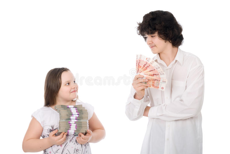 Boy And Girl With Large Sum Of Money Royalty Free Stock Photos