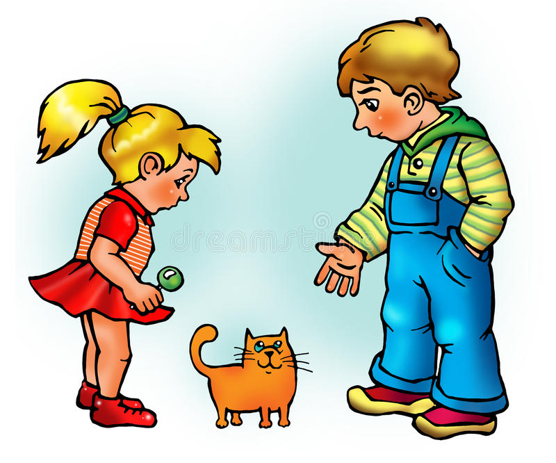Boy and girl look at kitten. Boy and girl look at little orange kitten and tell with it royalty free illustration