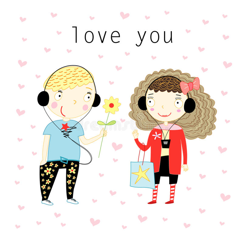 Download Boy and girl in love stock vector. Image of black, cards - 22624269