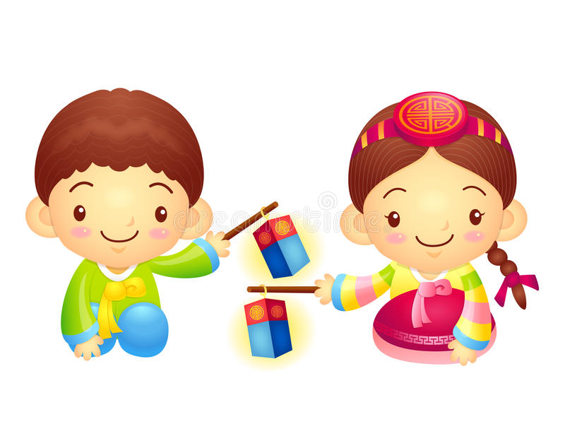 Download The Boy And Girl Mascot Is Holding A Lantern Building. Korea Tra Stock Illustration - Illustration: 33869449