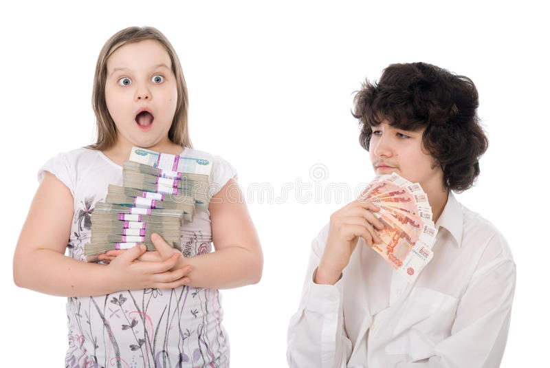 Download Boy and girl with money stock image. Image of portrait - 24658513