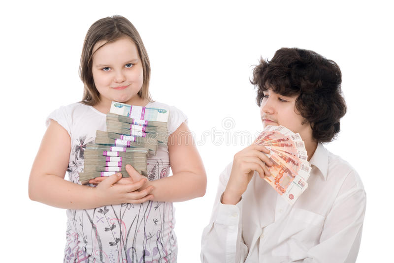 Download Boy and girl with money stock photo. Image of have, holding - 24658516
