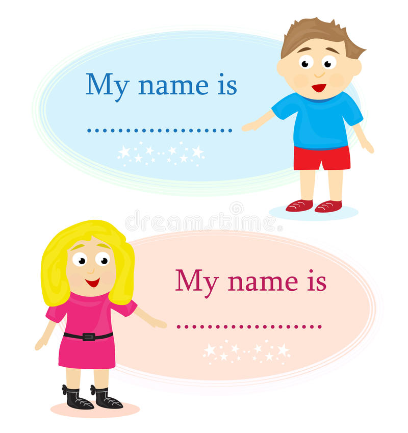 Boy And Girl With Name Card Stock Photography