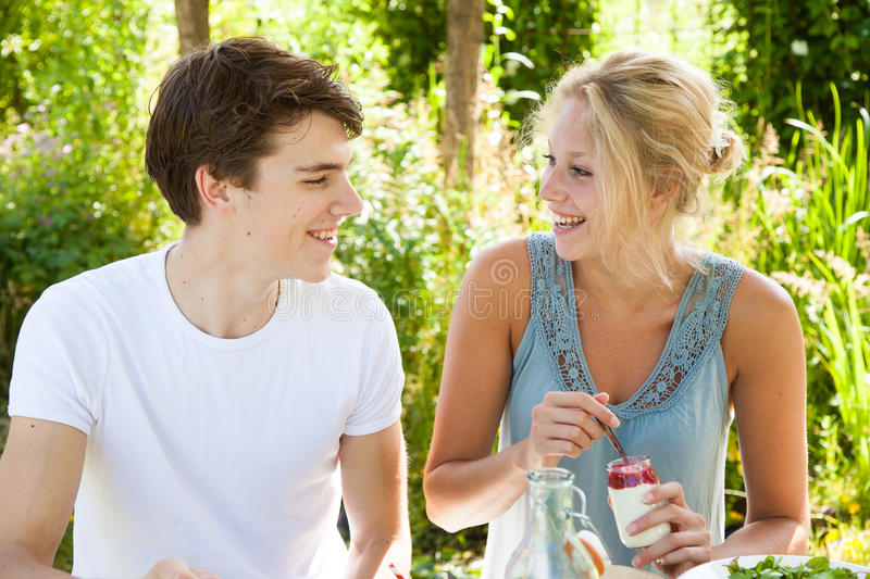 Boy and girl outdoors royalty free stock photos