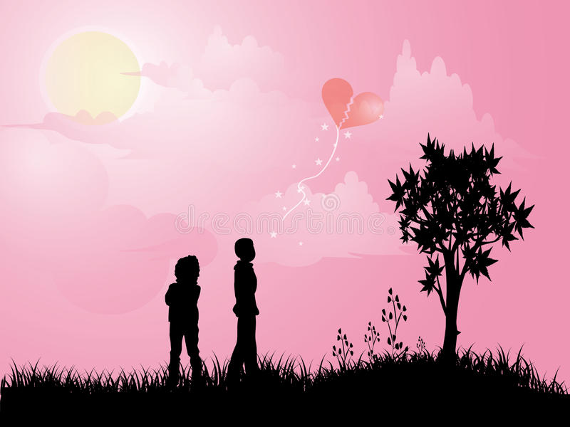 Download Boy and girl outside stock vector. Image of love, silhouettes - 16220507