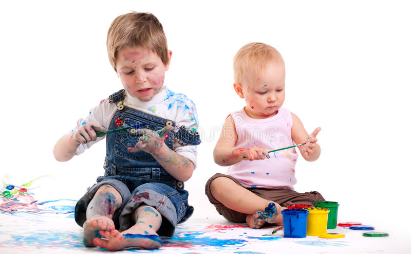 Download Boy and girl painting stock photo. Image of cute, creativity - 11472926