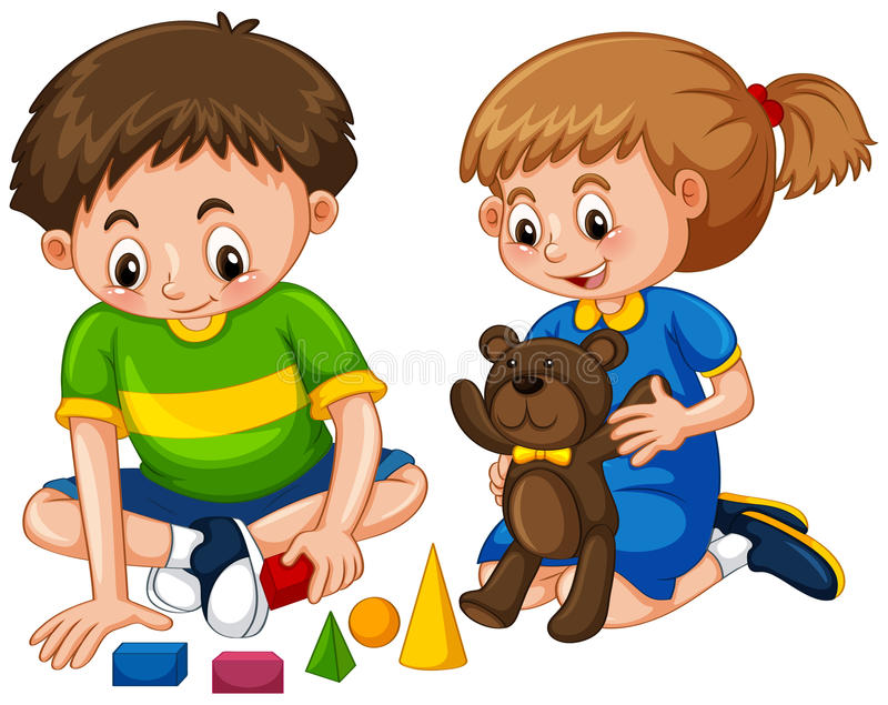 Boy and girl play toys vector illustration