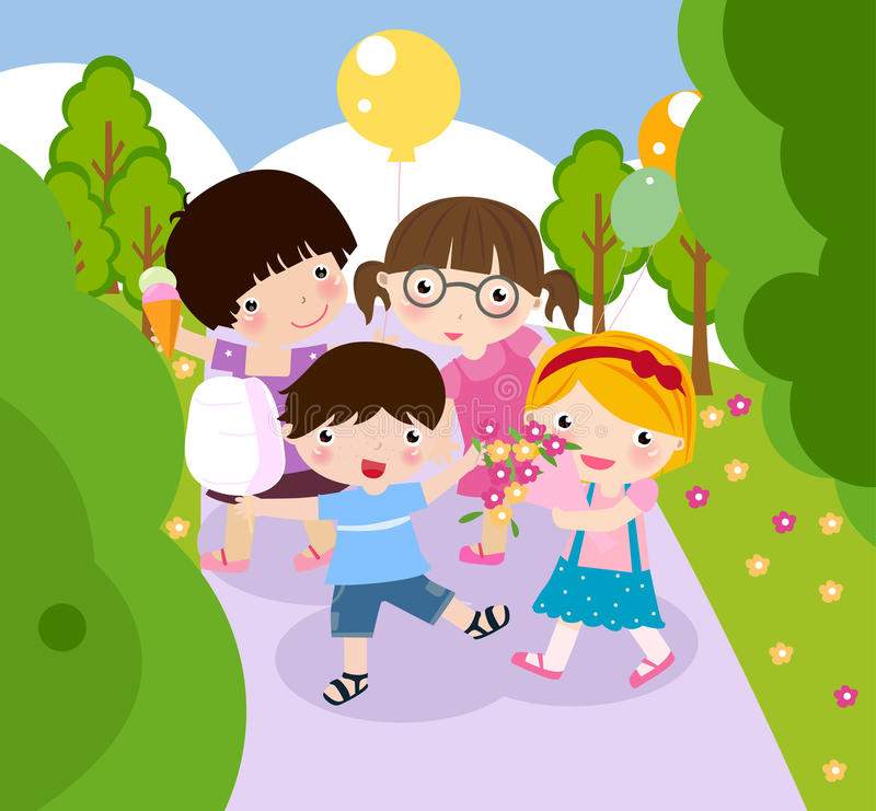 Boy and girl playing stock illustration