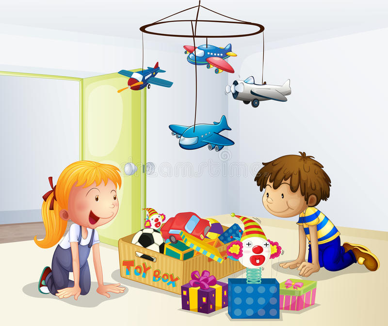 A boy and a girl playing inside the house. Illustration of a boy and a girl playing inside the house stock illustration