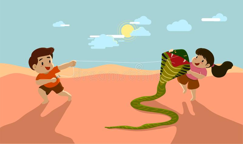 Brother and sister playing kite together, friendship stock illustration