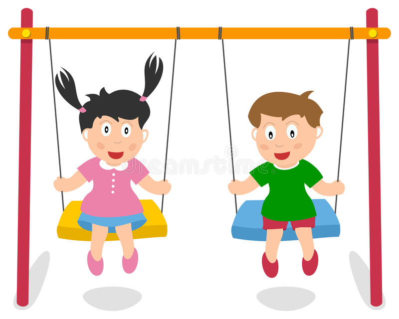 Boy and Girl Playing on Swing. Two cute kids, a girl and a boy, playing on a swing, isolated on white background. Eps file available vector illustration